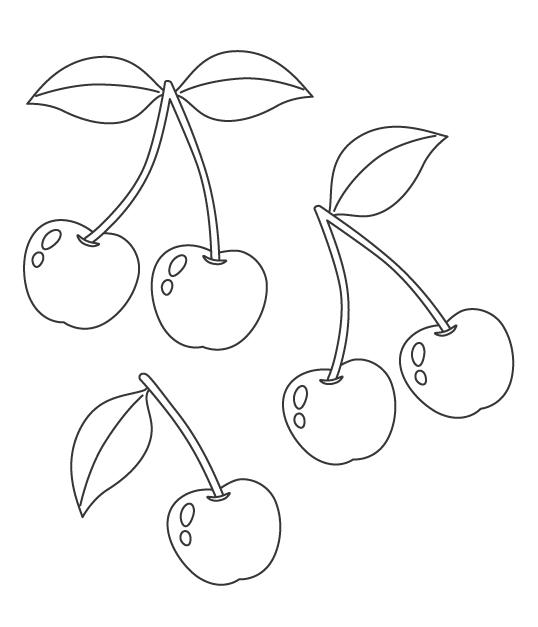 果物・さくらんぼのぬりえ