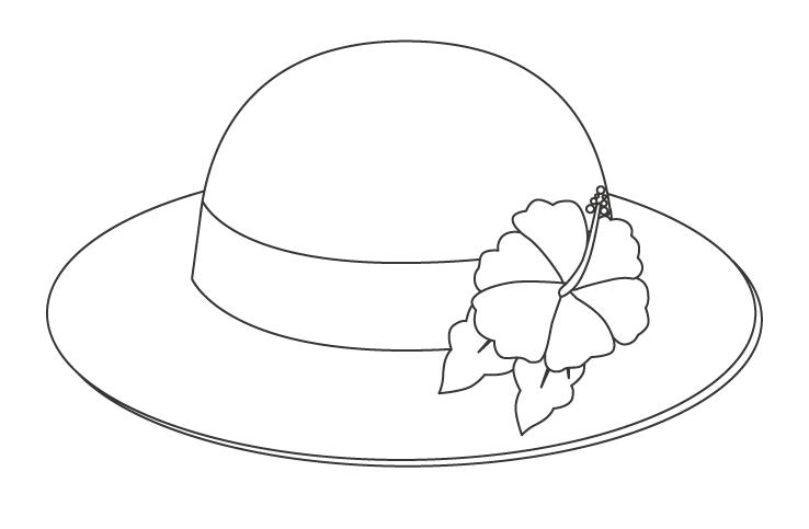 ハイビスカスの麦わら帽子のぬりえ