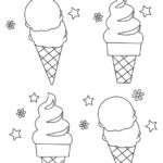 アイス・ソフトクリームのぬりえ