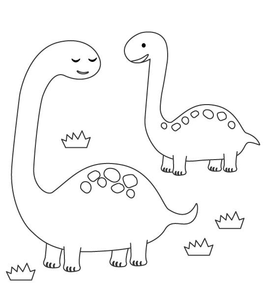かわいいブラキオサウルス(恐竜)のぬりえ