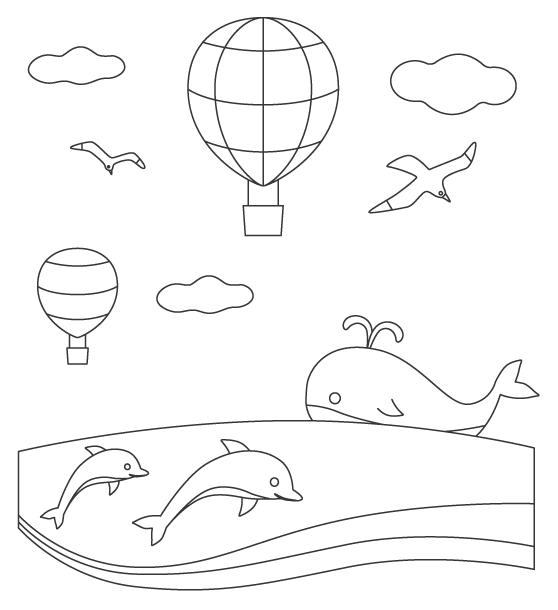 海とクジラやイルカのぬりえ