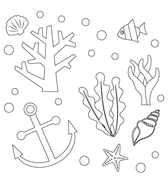 サンゴや海藻などのぬりえ