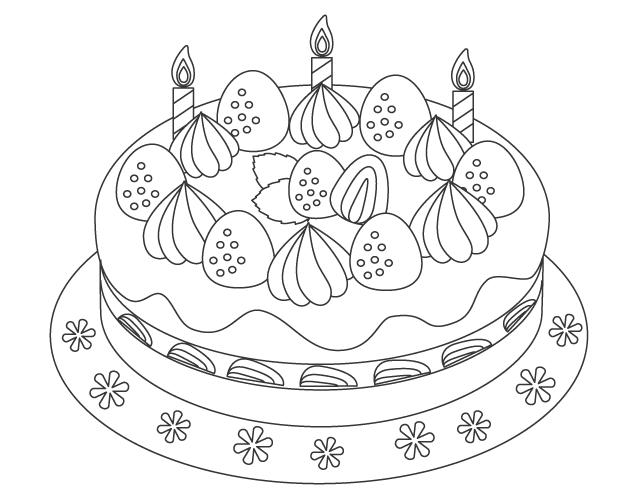 バースデーケーキのぬりえ