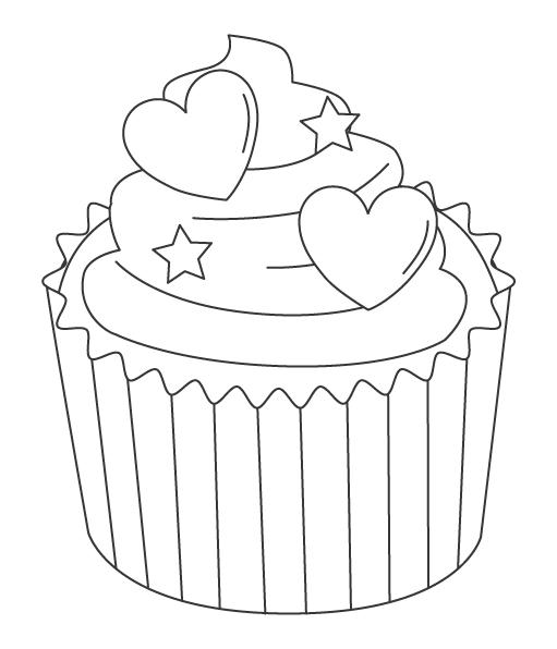 かわいいカップケーキのぬりえ