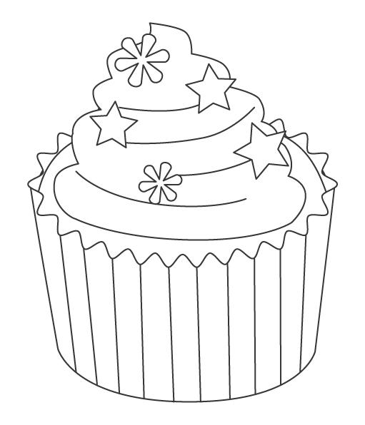 星がかわいいカップケーキのぬりえ