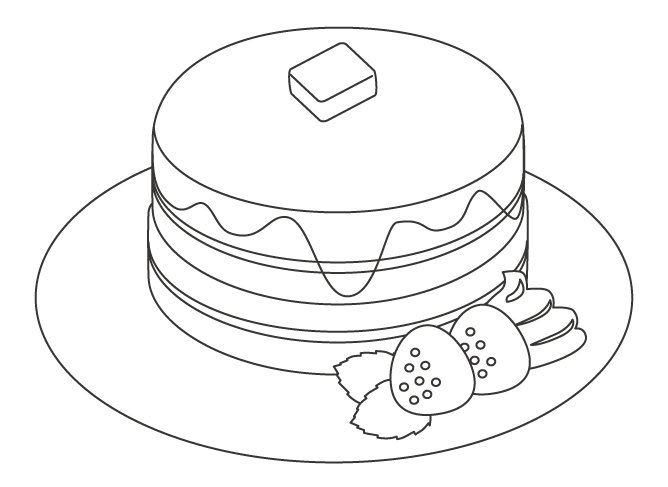 パンケーキのぬりえ
