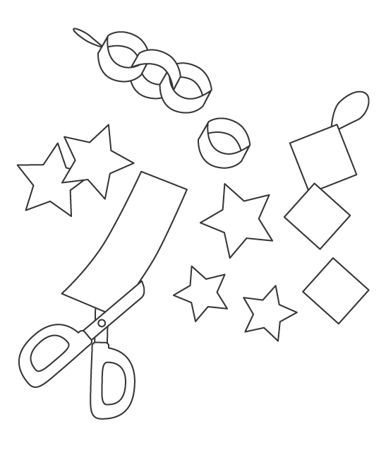 七夕飾りの工作のぬりえ02
