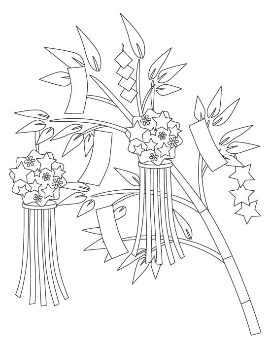 笹の葉や豪華な七夕飾りのぬりえ