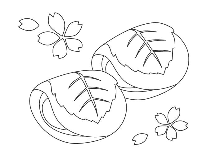 和菓子・桜もちのぬりえ