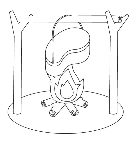 キャンプ・飯盒(はんごう)のぬりえ