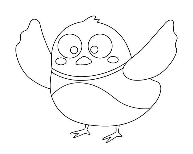 羽を広げているかわいい鳥のぬりえ