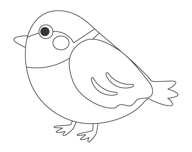 かわいいスズメ(鳥)のぬりえ