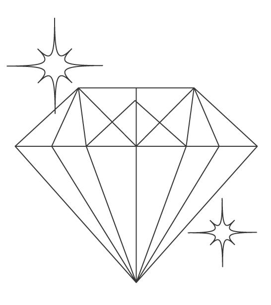 ダイアモンド・宝石のぬりえ