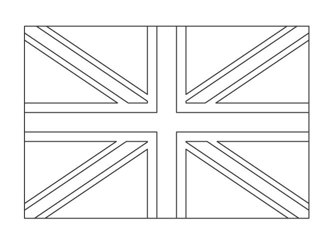 イギリスの国旗のぬりえイラスト