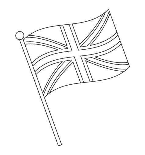 なびいているイギリスの国旗のぬりえ