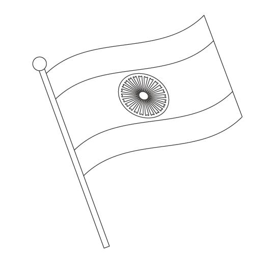 なびいているインドの国旗のぬりえ