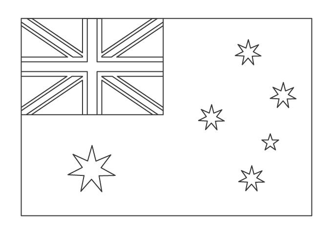 オーストラリアの国旗のぬりえ