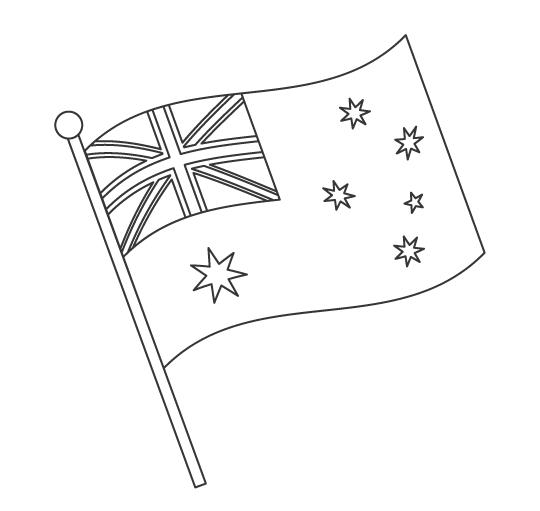 なびいているオーストラリアの国旗のぬりえ