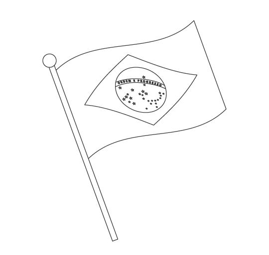 なびいているブラジルの国旗のぬりえ