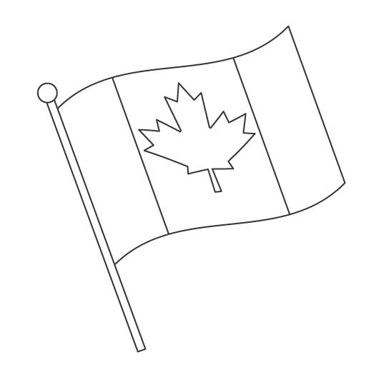 なびいているカナダの国旗のぬりえ