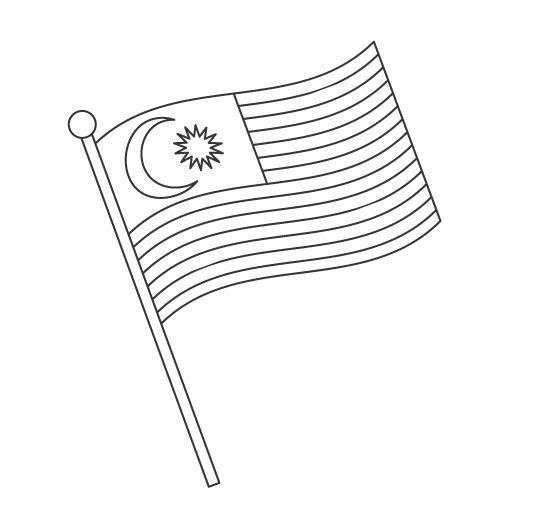 なびいているフィリピンの国旗のぬりえ