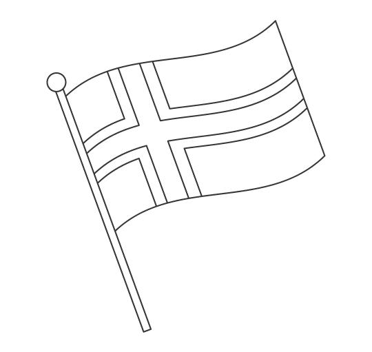 なびいているノルウェーの国旗のぬりえ