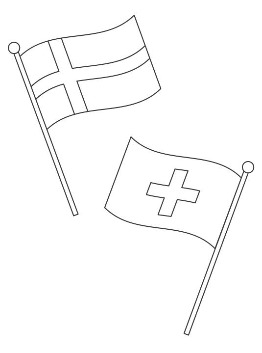 なびいている簡単な国旗のぬりえ