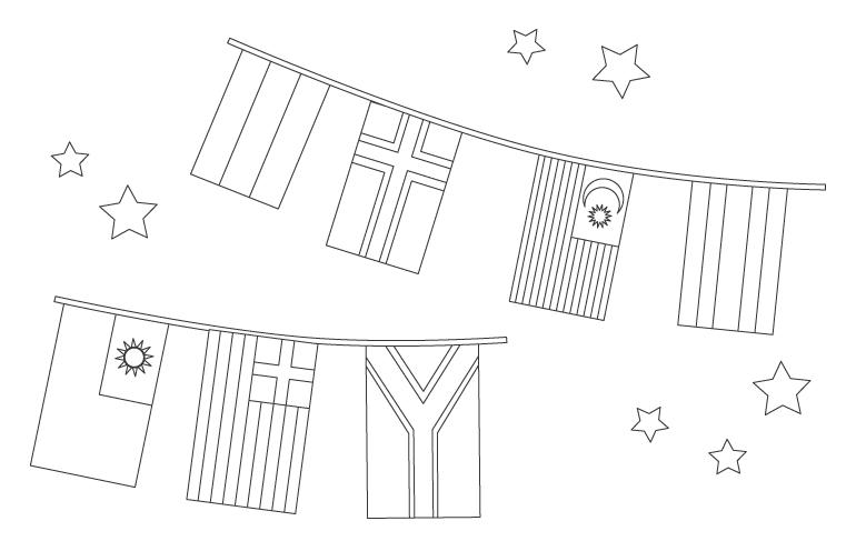 国旗のフラッグガーランドぬりえ02
