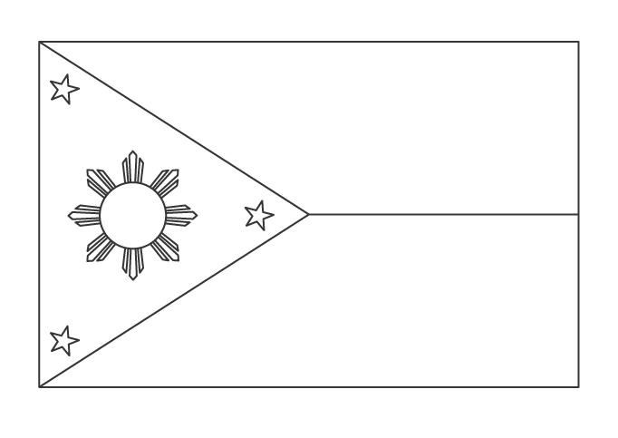 フィリピンの国旗のぬりえ