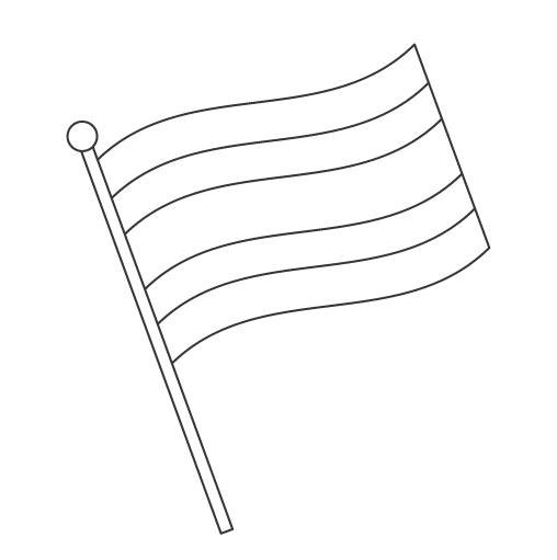 なびいているタイの国旗のぬりえ