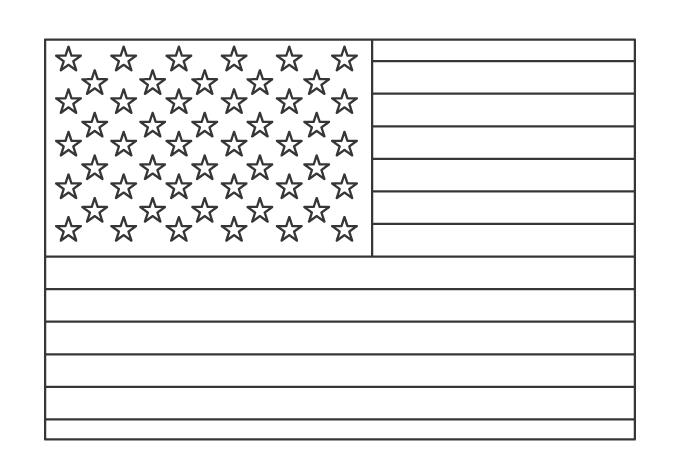 アメリカの国旗のぬりえ