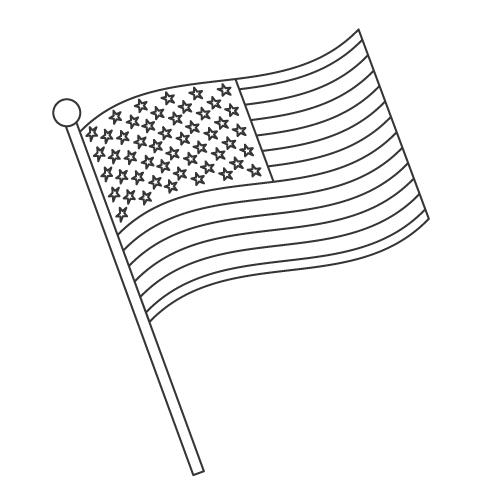 なびいているアメリカの国旗のぬりえ