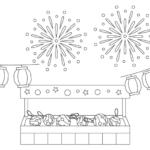 夏祭り・水風船の屋台と打ち上げ花火のぬりえ