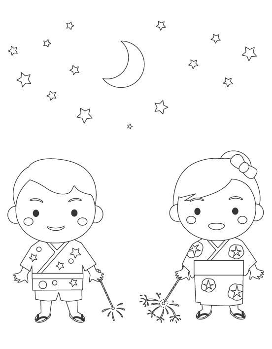 夏祭り・子ども達と夜空のぬりえ