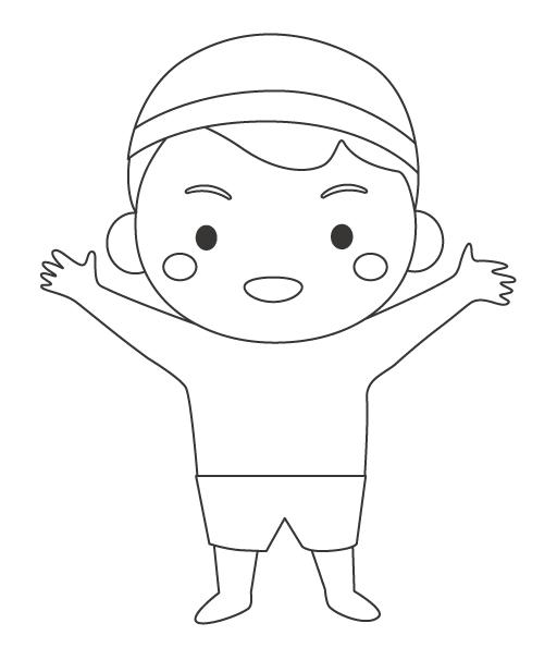 水泳の準備体操をする男の子のぬりえ