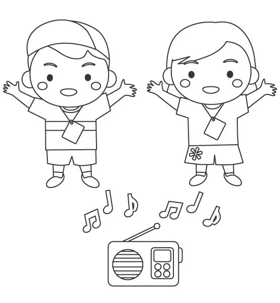 ラジオ体操をする子どものぬりえ