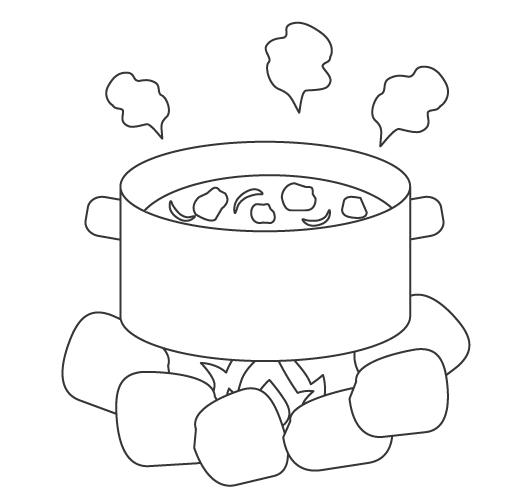 キャンプ・カレー鍋のぬりえ