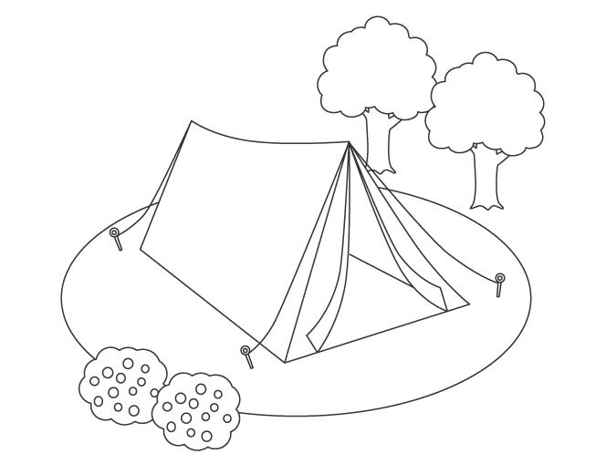 キャンプのテントのぬりえ