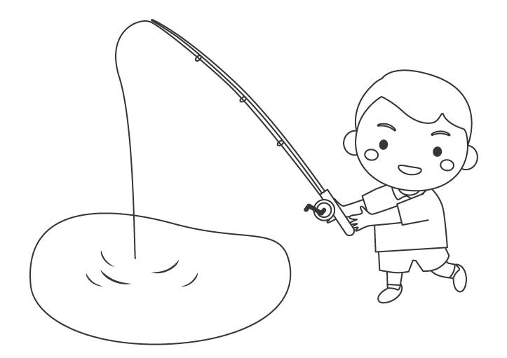 釣りをする男の子のぬりえ
