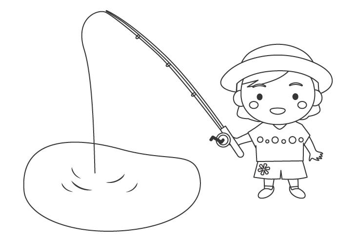 釣りをする女の子のぬりえ