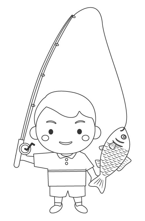 魚を釣り上げた男の子のぬりえ