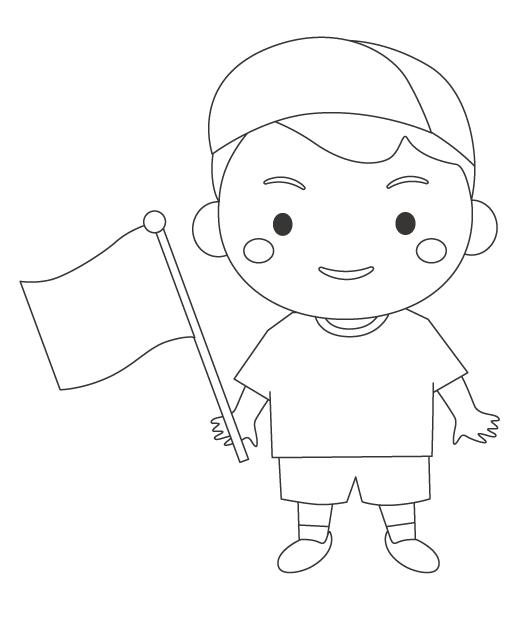 運動会でゴール旗を持つ男の子のぬりえ