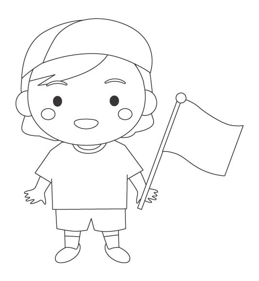 運動会でゴール旗を持つ女の子のぬりえイラスト