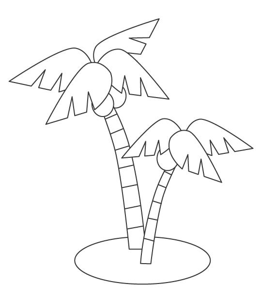 南国のヤシの木のぬりえ