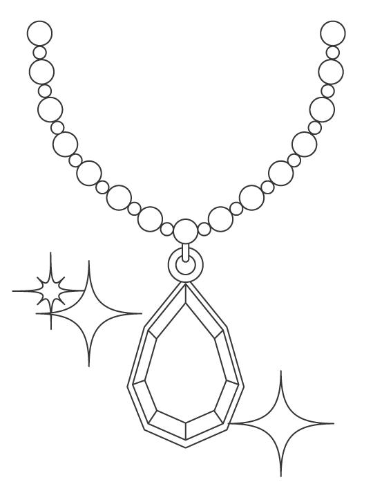 大きな宝石のネックレスのぬりえ