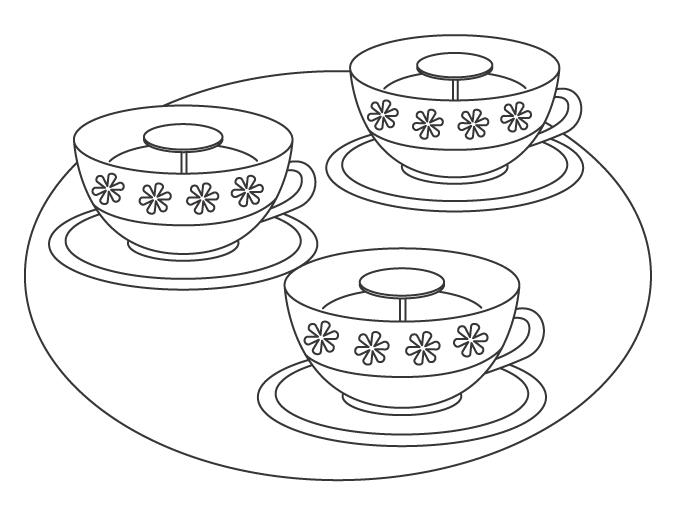 遊園地・コーヒーカップ(遊具)のぬりえ