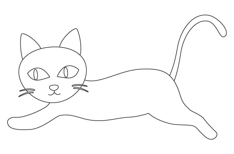 寝転ぶかわいい猫のぬりえ