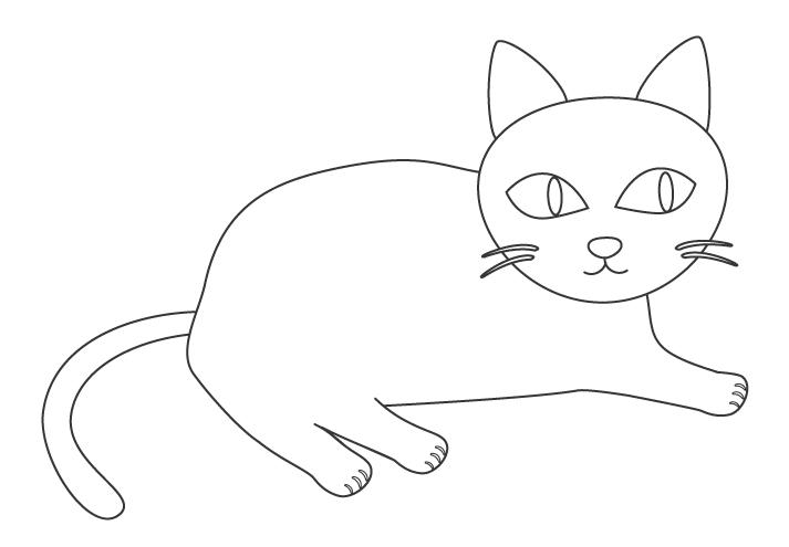 かわいい猫のぬりえイラスト素材03