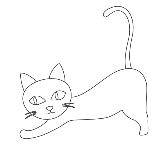 背伸びしているかわいい猫のぬりえ