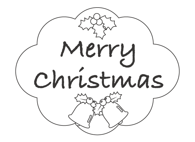 「Merry Christmas」とクリスマスベルのぬりえ